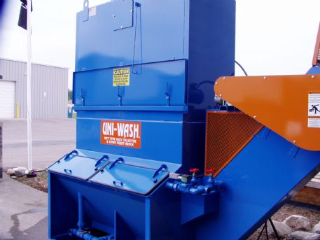 Uni-Wash model UC-40, 4,000 CFM Wet Dust Collector shown with Automatic Sludge Conveyor